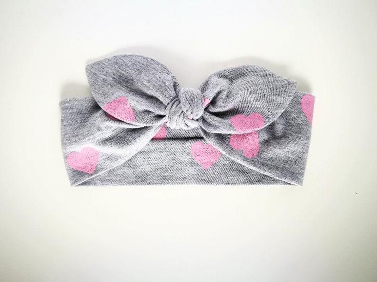 Bawełniana opaska pin-up róż szary serca - MadebyKaza - Opaski dla niemowląt