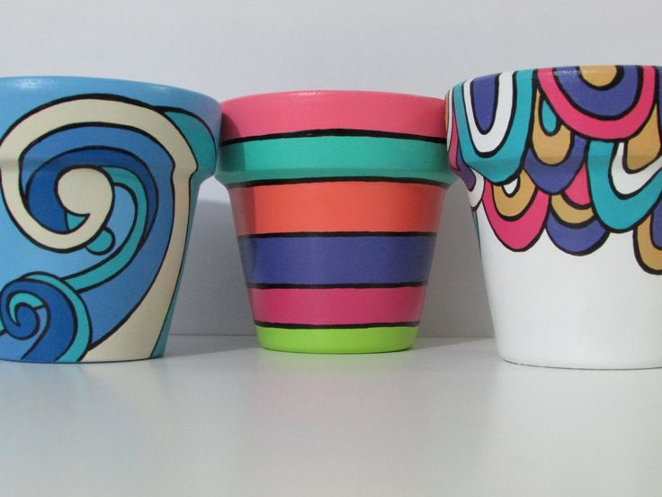 painted flower pots stripes swirls