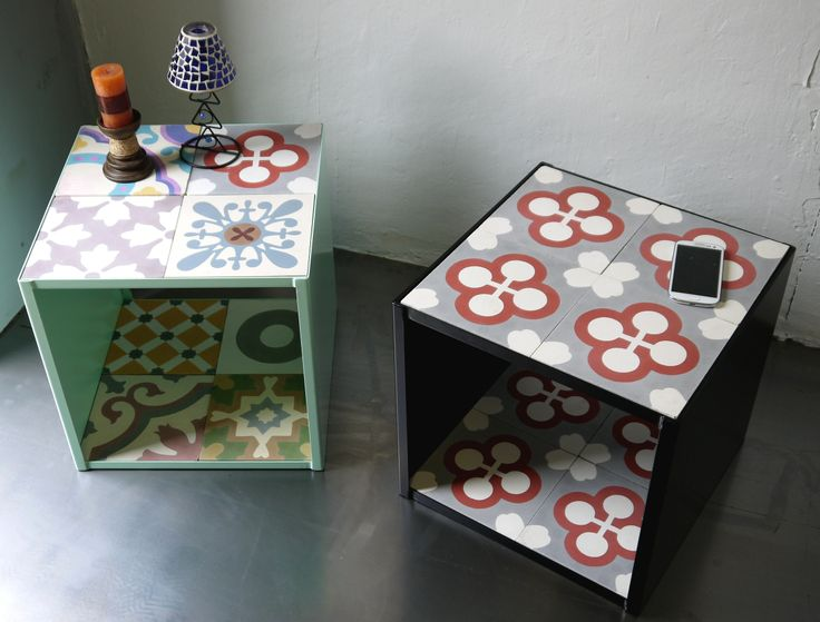 Side table in steel and hydraulic mosaic tile. Mesa rinconera en hierro y baldosas hidráulicas.
