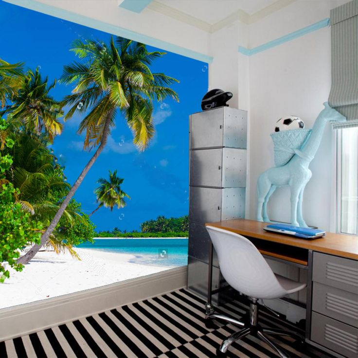 Fotobehang Tropisch eiland   Maak het jezelf eenvoudig en bestel fotobehang voorzien van een lijmlaag bij YouPri om zo gemakkelijk jouw woonruimte een nieuwe stijl te geven. Voor het behangen heb je alleen water nodig!   #behang #fotobehang #print #opdruk #afbeelding #diy #behangen #tropisch #eiland #zomer #zon #zee #strand #palmbomen #bounty