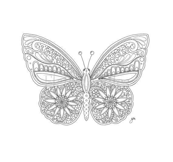 Schmetterling  Malseite für Erwachsene  Malseiten von Fleurdoodles