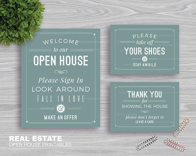 "Real Estate ""Welcome to Our Open House"" Printables 