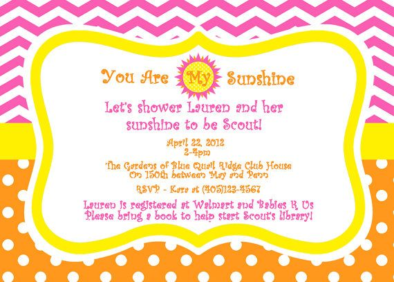You Are My Sunshine Baby Shower Invitation   Girls Baby Shower   PRINTABLE  Custom Invitation And Thank You Card