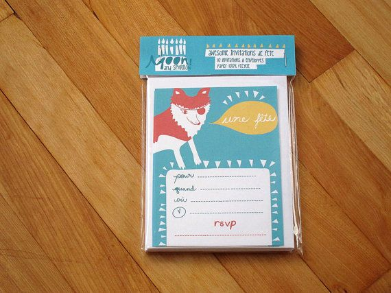 Vinnie the Pirate Wolf French Birthday Invite by moonandsparrow, $10.00