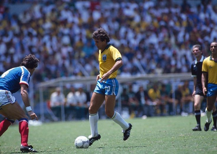 Zico (Brazil) in action during quarter-finals of the 1986 FIFA World Cup against France. After tying the match 1-1, France won in a penalty shoot out 4-3. June 21, 1986