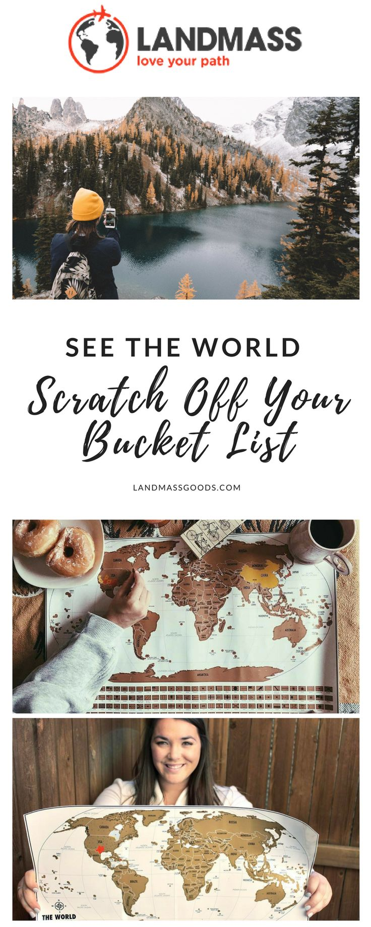 Scratch off your bucket list and track your travels around the world with the Landmass Travel Tracker Map. Reveal vibrant colors which tell the unique story of your adventures. #landmass #travel #travelmore #traveltracker #seetheworld #explore #bucketlist #maps
