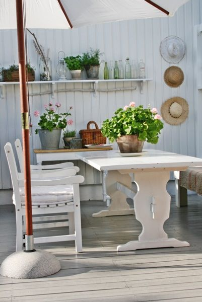 Tour of charming country cottage in Norway; love this outdoor display shelf — Eclectically Vintage