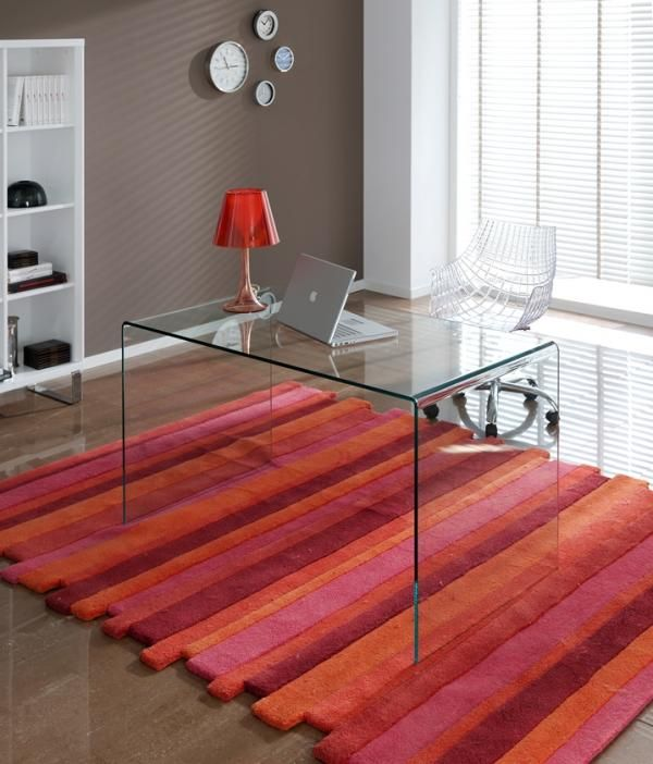 Aria, contemporary clear glass office desk