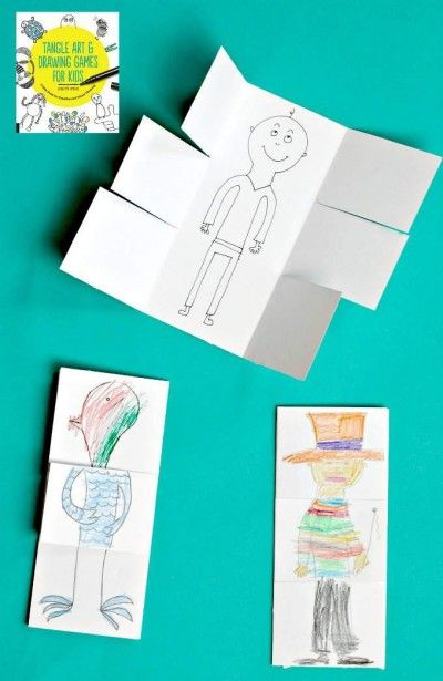 Exquisite corpse drawing game. An art project that will make your kids laugh.