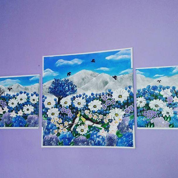 #art #pain #painting #flowers #kvet #kvety #hydrangea #sedmokrasky #forest #les #acrylics #acryl #colors #color #country #krajina #krajinka #krasa #nice #blue #modra #white #fantázia #fantasy #obrazok #obloha  #birds #bird