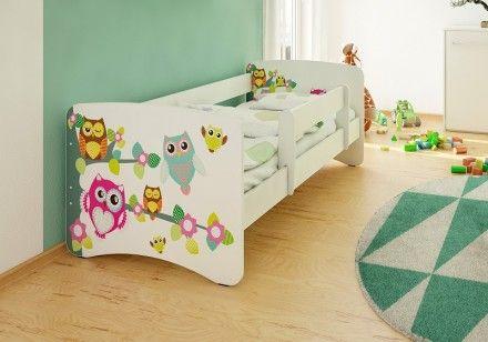 Dětská postel se zábranou - Sovičky