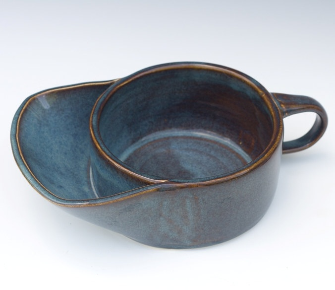 Soup bowl with cracker pocket 30 00 via etsy