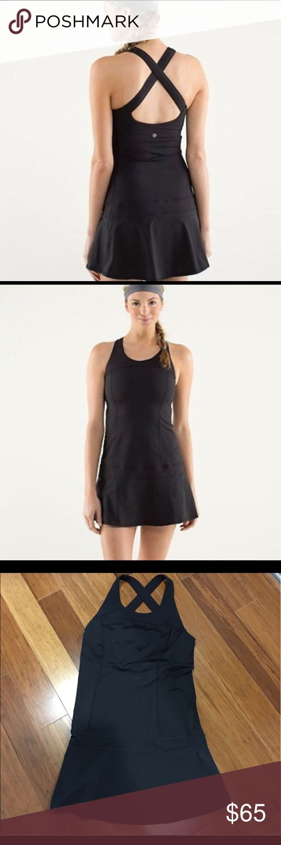 """Lululemon Hot Hitter Black Dress Lululemon Hot Hitter Dress in Black Size 10 // purchased from another posher nwot so only worn once by me // too big so selling // willing to trade for size 8 in same condition.                     Tech specs designed for: tennis, run fabric(s): Power Luxtreme, Power Stretch Swift properties: a perfect grand slam - moisture wicking, four-way stretch, breathable, chafe resistant shelf bra: yes support level: medium front length: 27 ½"""" back length: 22 ½""""…"""