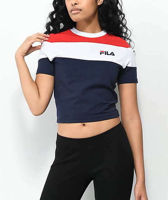 e518bfaf781 FILA Maya Red, White & Blue Color Block Crop T-Shirt in 2019 | cool ...