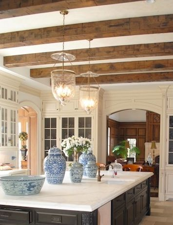 enchanted home: blue and white on the island with smoke bells    I like the off white cabinets with white walls and wood accents