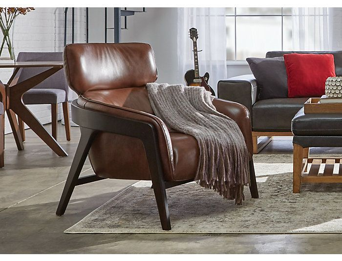 Best Venosa Brown Leather Accent Chair Art Van Home Brown 400 x 300