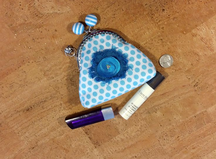 Coin purse, metal kiss push lock stripped frame, 100% cotton, turquoise and white poke a dots, unique emblem with beads by jewellgem on Etsy