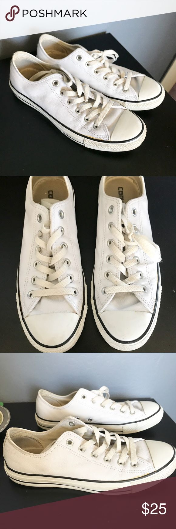 All white leather Converse Pure white leather converse! Very lightly worn with leather in great color condition! Laces can be bought to make them look new! Make me offers the price is negotiable Converse Shoes Sneakers