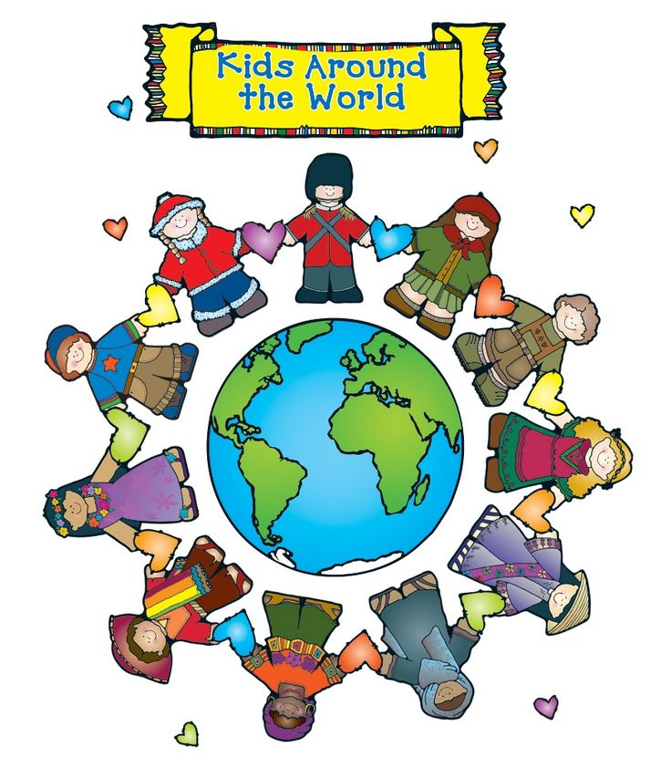 """This bright, themed bulletin board set includes: A world (16"""" x 16"""") 11 international kids 23 large hearts 6 small hearts A header with removable text A resource guide Illustrations © Dianne J. HookPublished by Carson-Dellosa Publishing, LLC© Carson-Dellosa Publishing, LLC"""