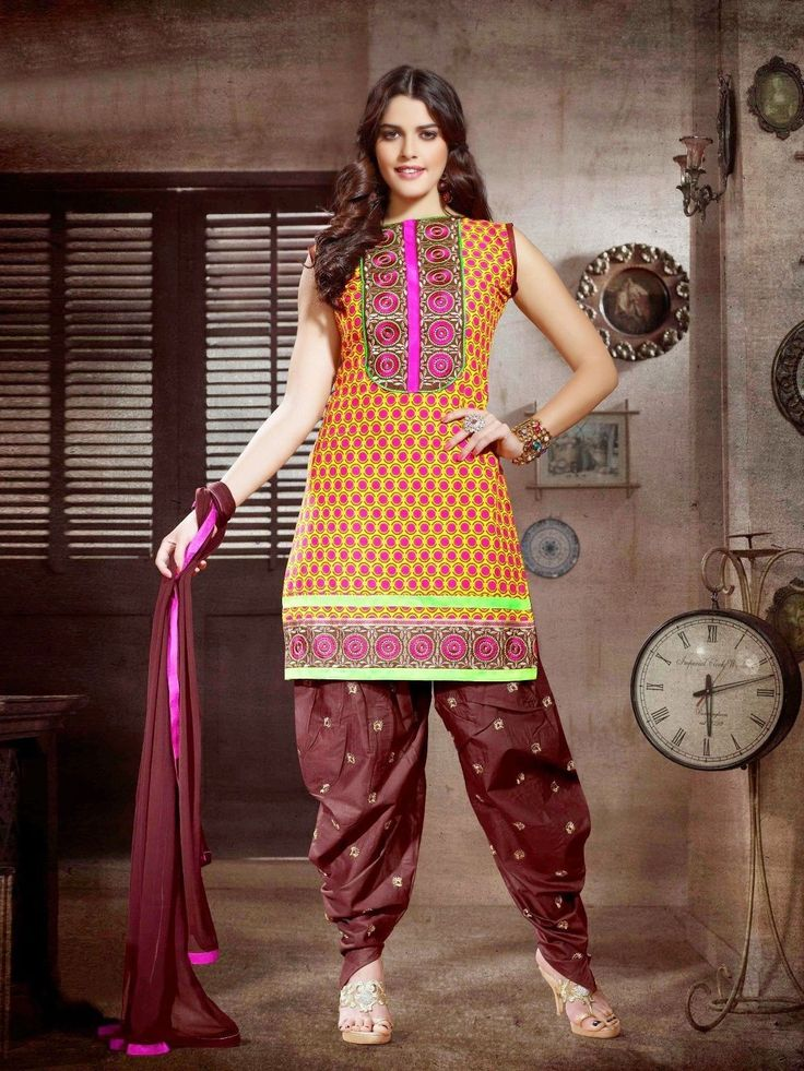 #Cotton patiala Unstitched salwar #kameez suit  Dashing Yellow & Brown Patiala salwar kameez set with waistcoat. pair with matching dupatta.Salwar Include Dupatta fabric, Unless Specified. Available in 52% Discount @aimdeals