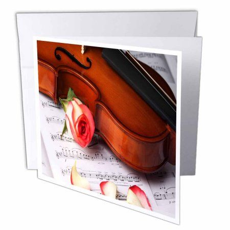 3dRose Print of Violin and Rose On Sheet Music, Greeting Cards, 6 x 6 inches, set of 6