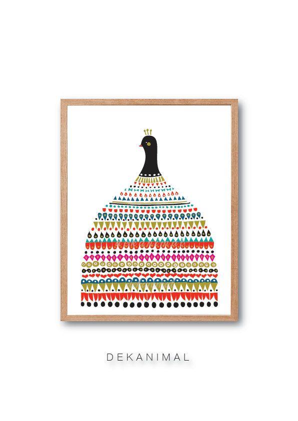 Vestido de pavo real vestido de lámina lámina de aves por dekanimal