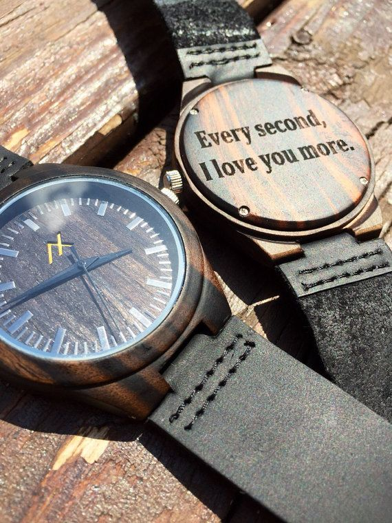 Mens Dark Ebony Wood Watch With Custom Engraving Wooden For Him Gift Personalized Wedding