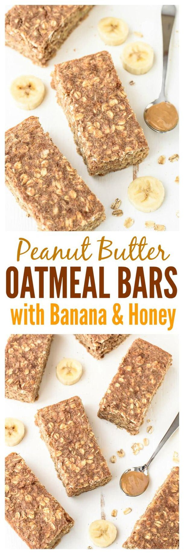 Healthy Snacks - Peanut Butter Oatmeal Bars with Banana and Honey Recipe via Well Plated by Erin #healthysnacks #healthytreats #healthyafterschooltreats #healthyrecipes #healthyfood #healthy #healthydesserts