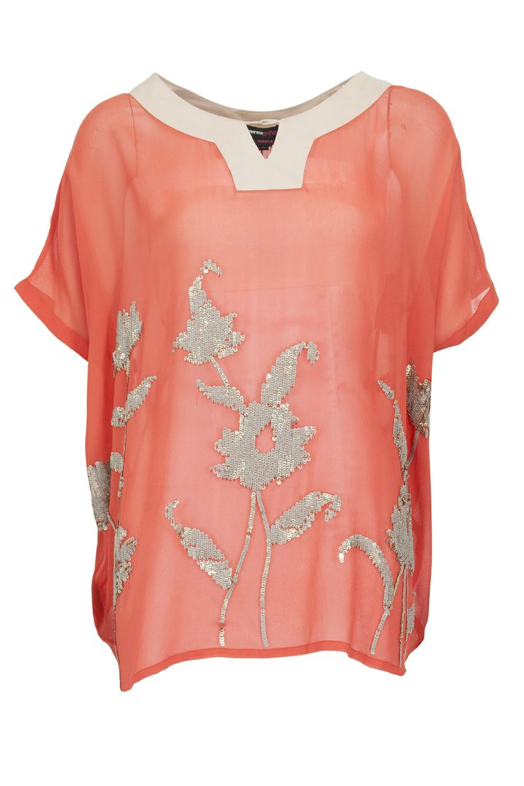 Clemetine sequins flower kaftan tunic available only at Pernia's Pop-Up Shop.