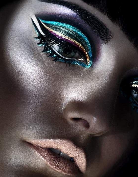 Metallic rainbow eyes: Face, Idea, Makeup Inspiration, Make Up, Eye Makeup, Color, Art, Beauty, Eyes