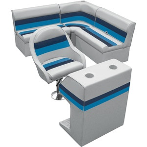 """Want!  Wise Pontoon Furniture Compact Rear Entry """"L"""" Group with Helm Bucket and Console"""
