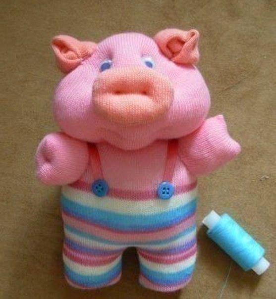 Cerdito muñeco para niños con calcetin | Solountip.com
