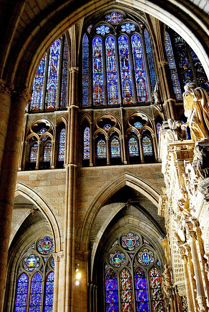 LEON, Castile and Leon, Spain - The walls of Leon's Gothic cathedral were built with more glass than stone.  There are 125 stained glass windows, three giant rose windows and 57 oculi.  This city was once an important stop for pilgrims on the Road to Santiago. Parador San Marcos is one of Leon's main attractions.  It was built to shelter knights and pilgrims on their way to Santiago de Compostela and is now a hotel.