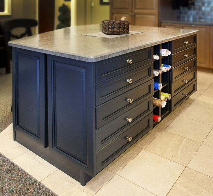 Beautiful Craft Counter With Wrapping Paper Cubbies