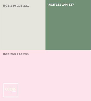 Abbinamento rosa grigio azzurro verde salvia