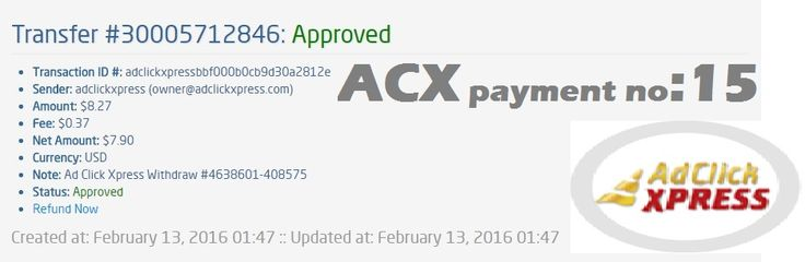 "This is my 15th payment ""Here is my Withdrawal Proof from AdClickXpress ""I WORK FROM HOME less than 10 minutes and I manage to cover my LOW SALARY INCOME.  If you are a PASSIVE INCOME SEEKER, then AdClickXpress (Ad Click Xpress) is the best ONLINE OPPORTUNITY for you."" no scam here."" Join Now : http://www.adclickxpress.is/?r=cbfs9p9ege43w&p=mx CONTACT DETAILS MOB. +919663517862"