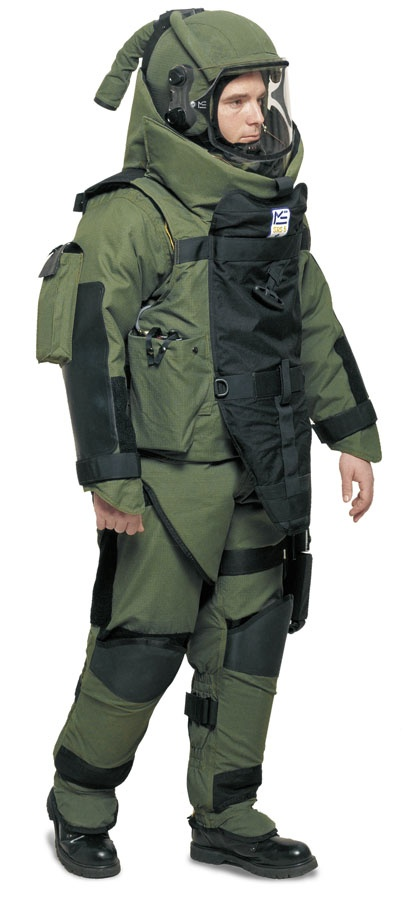 An EOD bomb disposal suit. The various components are capable of withstanding blasts that create fragments with high velocities. The helmet and visor are designed to resist fragments travelling at over 2000 feet per second.