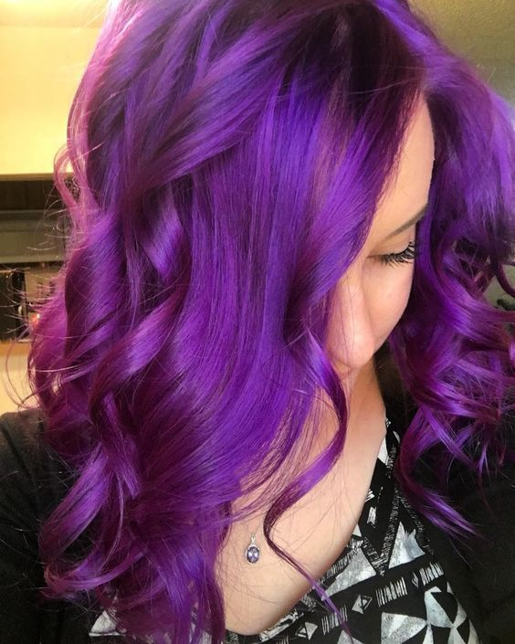 Vibrant Purple Hair Beauty: Fantasy Unicorn Purple Violet Red Cherry Pink Bright Hair Colour Color Coloured Colored Fire Style curls haircut lilac lavender short long mermaid blue green teal orange hippy boho ombré woman lady pretty selfie style fade makeup grey white silver Pulp Riot #fantasymakeup