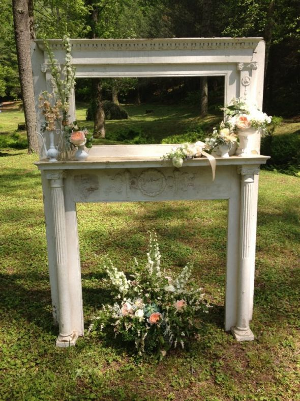 Rustic, Romantic Ceremony Altar :  wedding rustic romantic vintage antique inspiration ceremony diy Mantle 1
