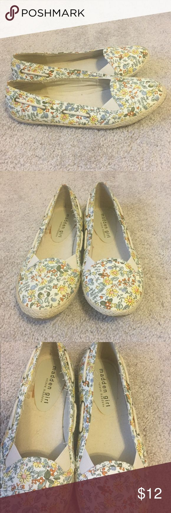 Madden Girl Floral Espadrilles Madden Girl floral fabric espadrilles. Worn maybe once, still in excellent condition! No blemishes on outer fabric (there is what looks like glue from the manufacturing on the inside of the shoe). Runs on size. Light and comfortable! Open to offers! Madden Girl Shoes Espadrilles