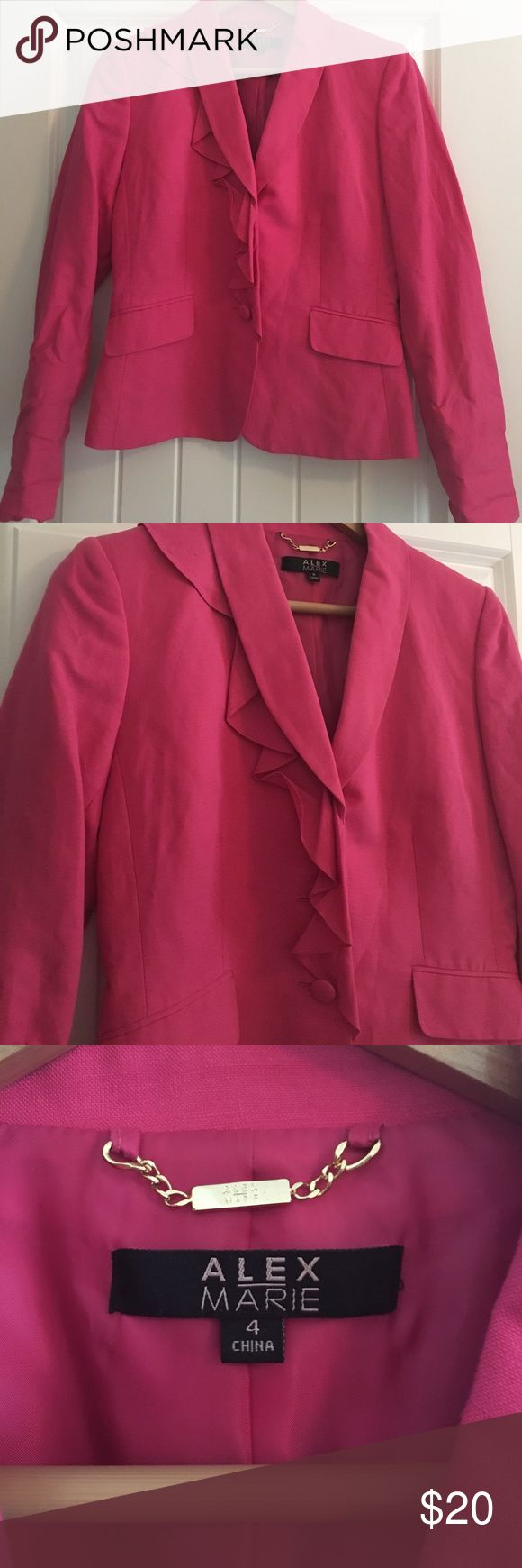 Alex Marie Hot Pink Ruffle Blazer Alex Marie Hot Pink Ruffle Blazer - NWOT - size 4 Alex Marie Jackets & Coats Blazers