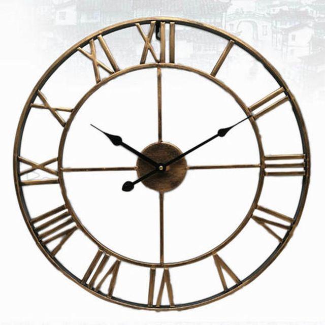 Nordic Roman Numeral Metal Wall Clocks Retro Hollow Iron Round Art