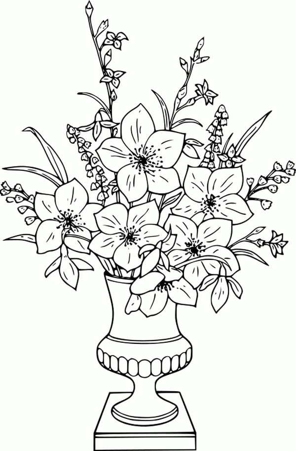 43 Fresh Flower Vase Drawing With Colour Flower Coloring Pages Flower Coloring Sheets Printable Flower Coloring Pages