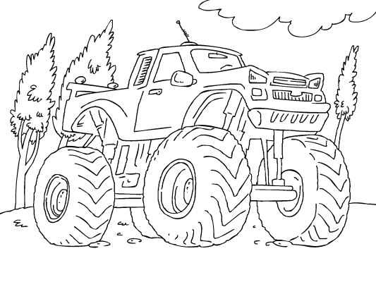 Color in this awesome Monster Truck coloring page. With those huge tires nothing gets in the way of this bad boy!  Tons more trucks and cars to chose from at...  http://www.coloringpages4u.com/car_coloringpages