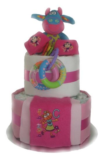 Full of Fun Two Tier Nappy Cake    $85.00  25 Huggies Newborn Nappies  1 newborn singlet  1 zany zoo teether rattle  1 newborn socks  1 newborn bib  1 my first 2 rings rattle  2 Cotton Muslin Wrap