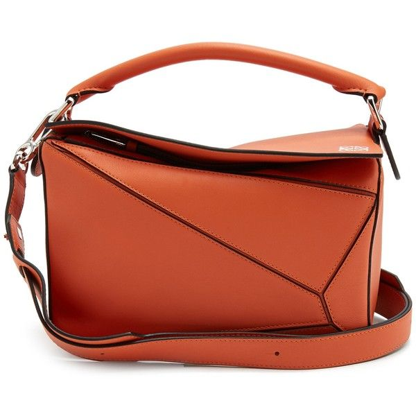 Loewe Puzzle small leather bag ($2,060) ❤ liked on Polyvore featuring bags, handbags, shoulder bags, orange, leather shoulder bag, orange shoulder bag, red handbags, red purse and leather fold over purse