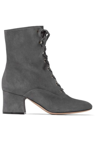 Gianvito Rossi - Lace-up Suede Boots - Gray - IT37.5