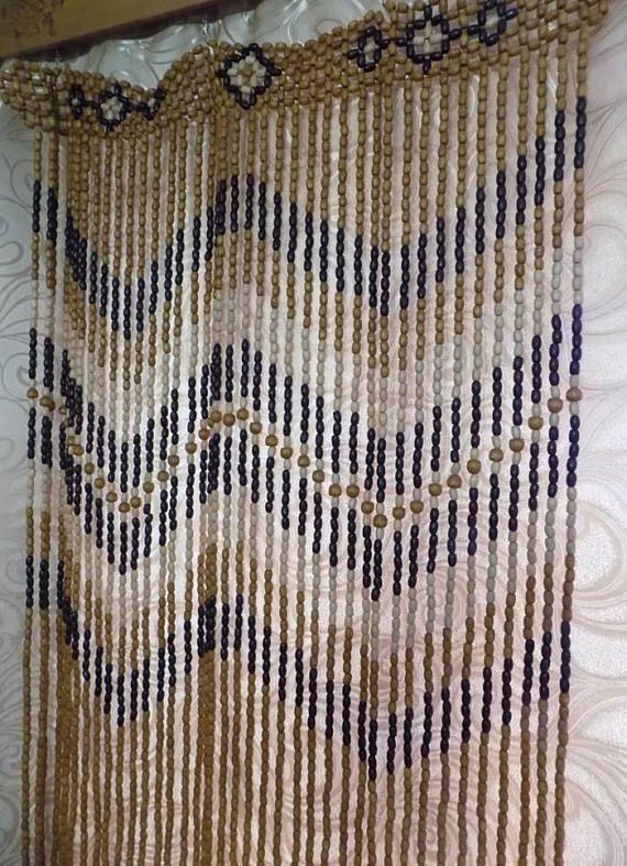 Divisore di camera o porta tenda di perline in legno fatti a