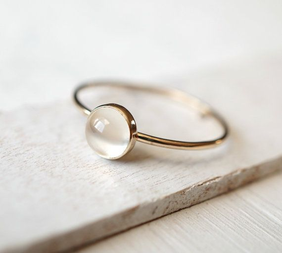 Moonstone Ring Solid Gold Ring 14k Rose Gold Ring by Luxuring