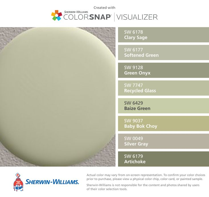 I found these colors with ColorSnap® Visualizer for iPhone by Sherwin-Williams: Clary Sage (SW 6178), Softened Green (SW 6177), Green Onyx (SW 9128), Recycled Glass (SW 7747), Baize Green (SW 6429), Baby Bok Choy (SW 9037), Silver Gray (SW 0049), Artichoke (SW 6179).